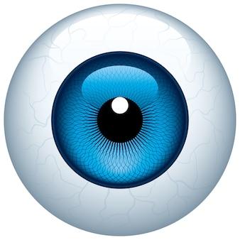 Globe oculaire bleu isolé sur blanc