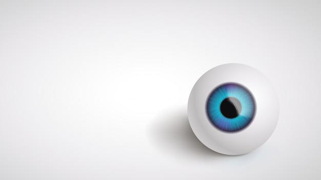 Globe oculaire sur le dos gris