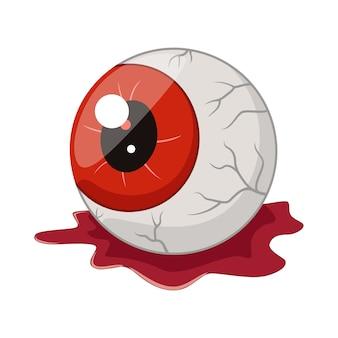 Globe oculaire halloween dessin animé isolé sur blanc