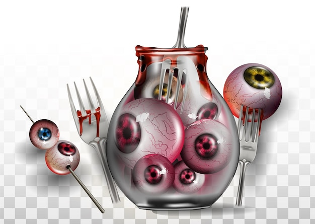 Globe oculaire halloween est isolé sur un fond blanc. oeil sur la fourchette et le pot avec des yeux à l'intérieur pour la décoration des invitations pour les vacances d'halloween.