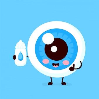 Globe oculaire mignon avec le caractère de gouttes pour les yeux. illustration de personnage de dessin animé plat. isolé sur fond blanc.