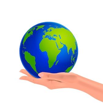Globe de la planète terre dans la main d'une femme, main réaliste tenant la planète, concept de protection de la nature, illustration