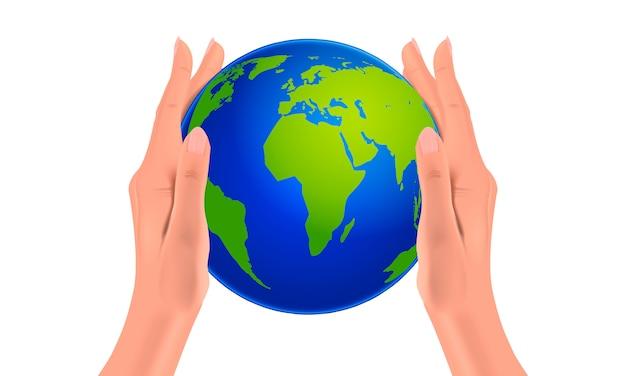 Globe de la planète terre dans les mains des femmes, des mains réalistes tenant le monde, concept de protection de la nature, illustration