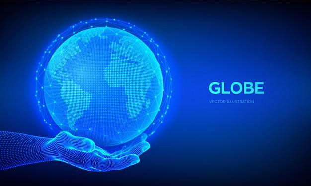 Globe de la planète terre à la main filaire. concept de composition de point et de ligne de carte du monde de connexion au réseau mondial