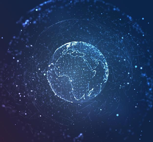 Globe, planète terre, à partir de points. concept bigdata, traitement et collecte de données