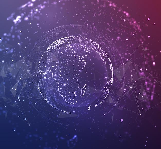Globe, planète terre, à partir de points
