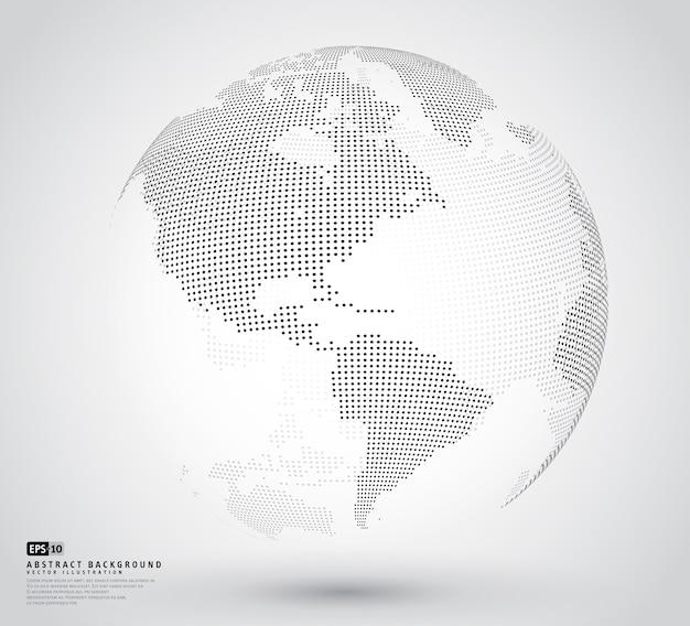 Globe en pointillé 3d abstrait