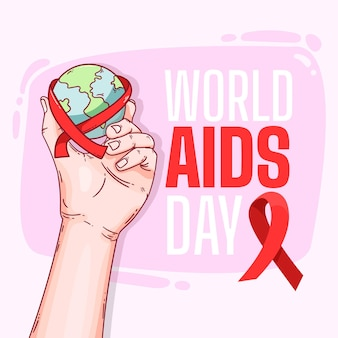 Globe avec ruban journée mondiale du sida