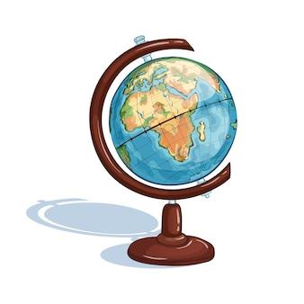 Globe scolaire des élèves. un sujet d'étude isolé. retour à l'école.