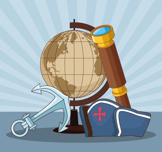 Globe terrestre et chapeau capitain vintage