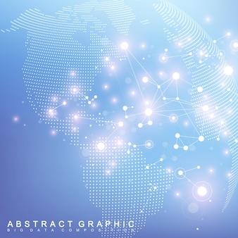 Globe terrestre complexe de données volumineuses. communication abstraite graphique. tableau minimal virtuel avec des composés. visualisation des données numériques.