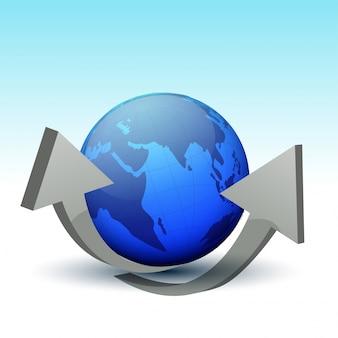 Globe terrestre avec des flèches 3d grises.