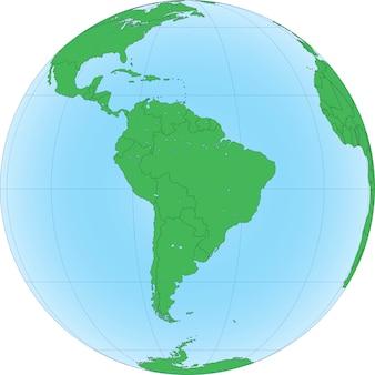 Globe terrestre avec focalisé sur l'amérique du sud