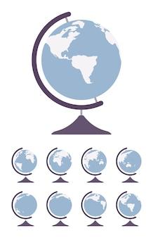 Globe terrestre sur pied et tournent de différents côtés