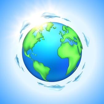 Globe terrestre planète dessin animé vecteur