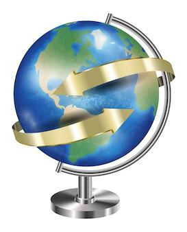 Globe terrestre de la planète avec la flèche d'or autour