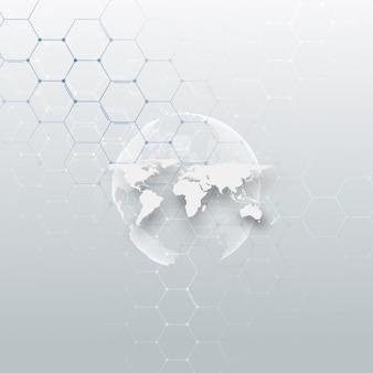 Globe terrestre en pointillé blanc