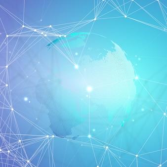 Globe terrestre pointillé avec lignes et points connectés