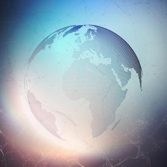 Globe terrestre technologique avec un design en pointillés.