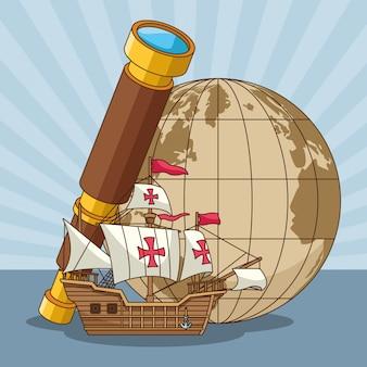 Globe terrestre vintage et vieux dessin de caravelle