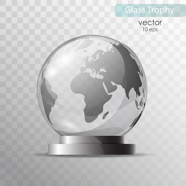 Globe en verre sur un support.