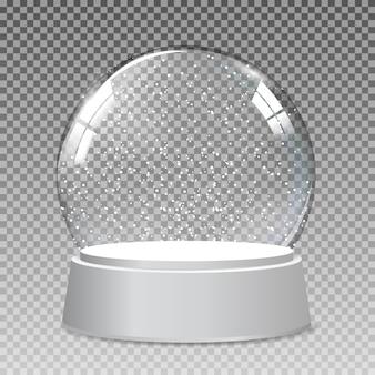 Globe en verre transparent réaliste de neige pour noël