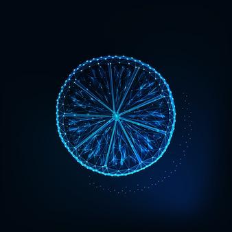 Glow faible tranche polygonale de citron isolé sur fond bleu foncé.