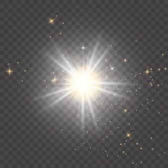 Glow isolé blanc transparent effet de lumière set lens flare explosion glitter line sun flash