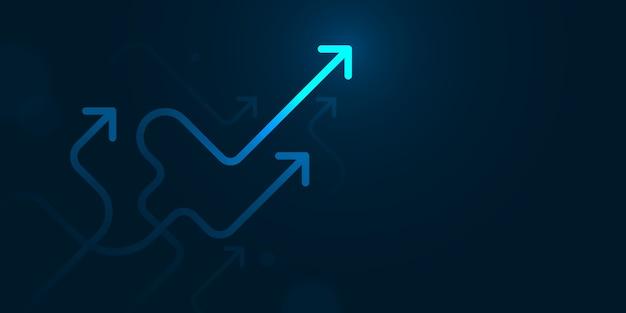 Glow up flèches sournoises sur fond bleu foncé avec copie espace concept de croissance des entreprises