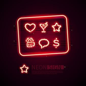 Glowing neon bar signs set avec des paillettes