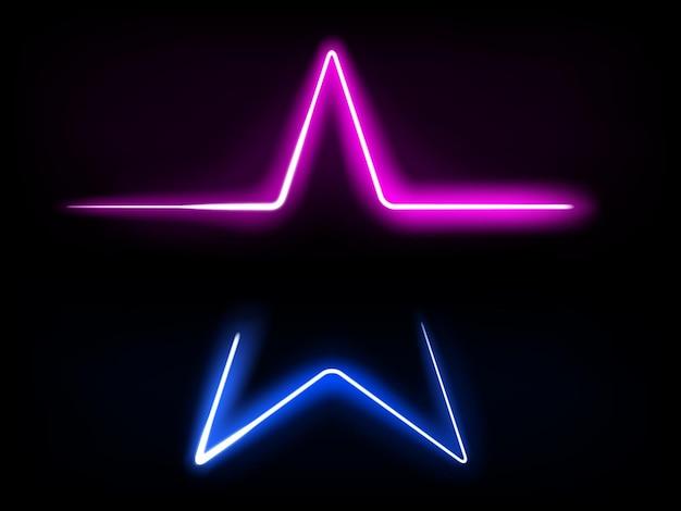Glowing star frame neon light vector illustration
