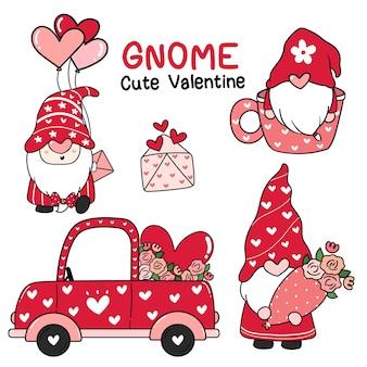 Gnome d'amour mignon valentine dans la collection de chapeau rouge, dessin animé