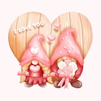 Gnome aquarelle, carte de la saint-valentin