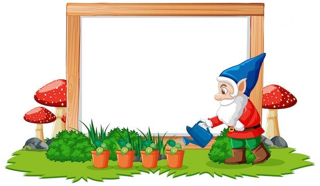 Gnome arrosage des plantes en face de la bannière vierge sur fond blanc
