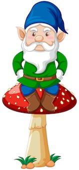 Gnome assis sur un champignon en personnage de dessin animé sur fond blanc