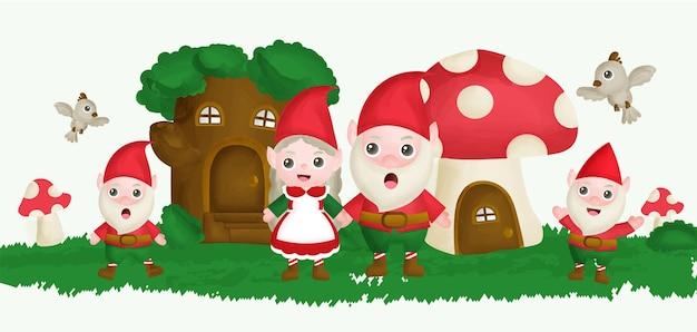 Gnome avec cabane dans les arbres et champignonnière dans le style de couleur de l'eau de jardin.