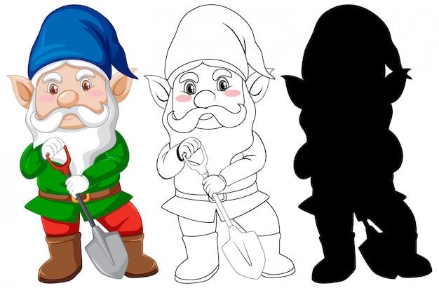 Gnome en costume de gerdener en couleur et contour et silhouette en personnage de dessin animé