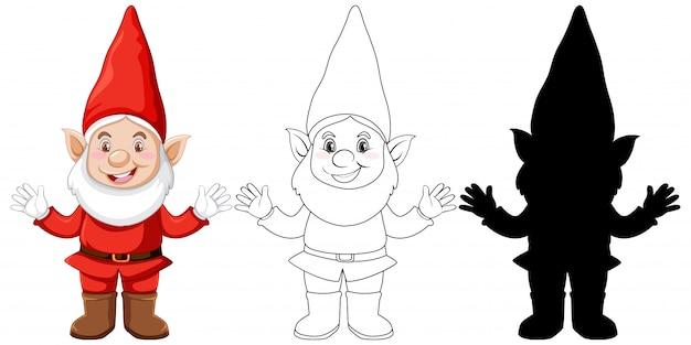 Gnome en couleur et contour et silhouette en personnage de dessin animé sur fond blanc