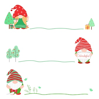Gnome de dessin animé mignon de vecteur avec la ligne verte sur les vacances de saison de noël nouvel an