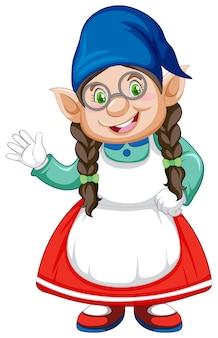 Gnome fille en personnage de dessin animé de position de stand sur fond blanc