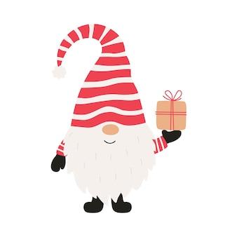 Gnome gai mignon avec cadeau de noël. illustration vectorielle.