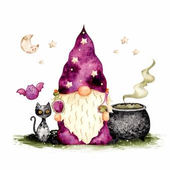 Gnome d'halloween dessiné à la main aquarelle