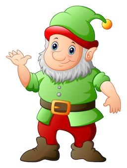 Gnome de jardin de dessin animé agitant la main