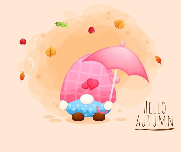 Gnome mignon tenant le personnage de dessin animé parapluie automne