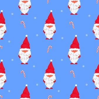 Gnome avec modèle sans couture de vecteur de lumières de noël pour les vacances du nouvel an