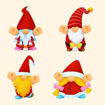 Gnome noël aquarelle set.illustration vecteur.