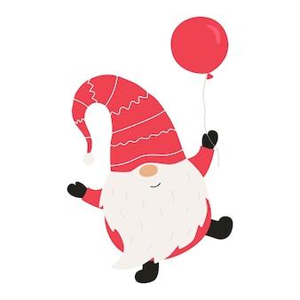 Gnome de noël mignon avec ballon. illustration vectorielle.