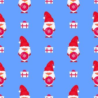 Gnome de noël avec modèle sans couture de vecteur de boule pour les vacances du nouvel an