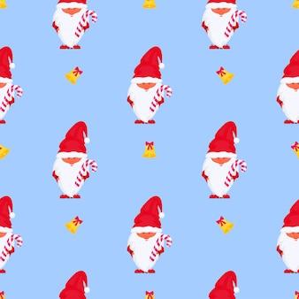 Gnome de noël avec le modèle sans couture de vecteur de sucette pour des vacances de nouvelle année