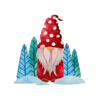 Gnome nordique d'hiver aquarelle en tissu rouge et arbres